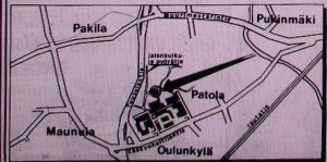 Suurpiirteinen kartta alueesta ja ruumiin löytöpaikka.